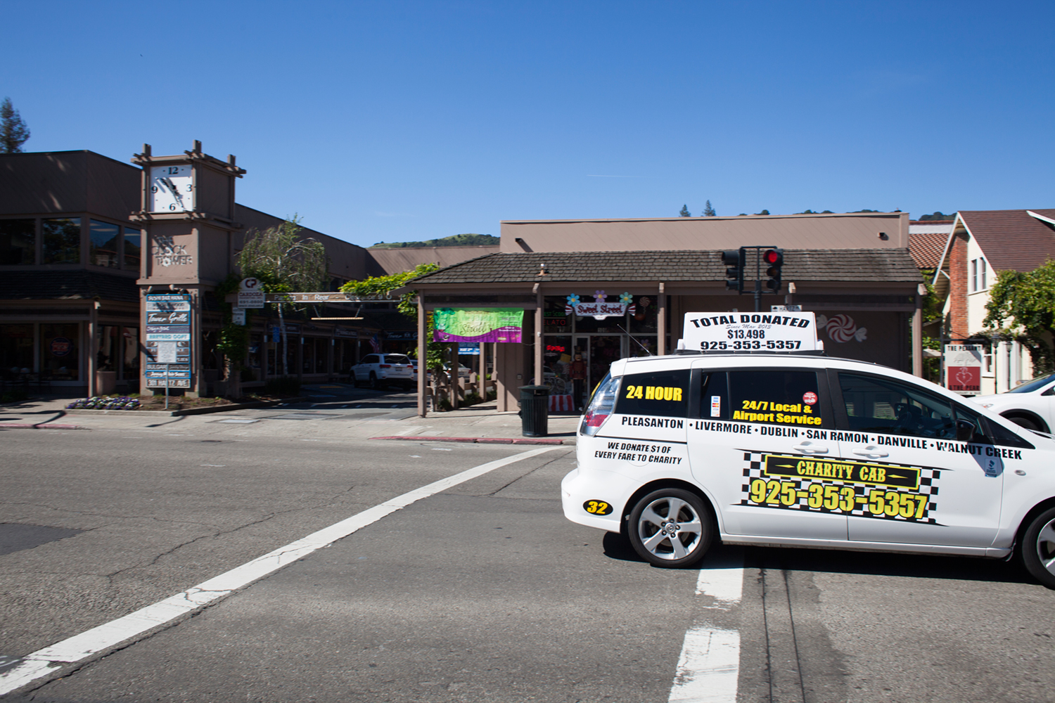 Charity Cab service in front of The Clock Tower, in Danville, CA.