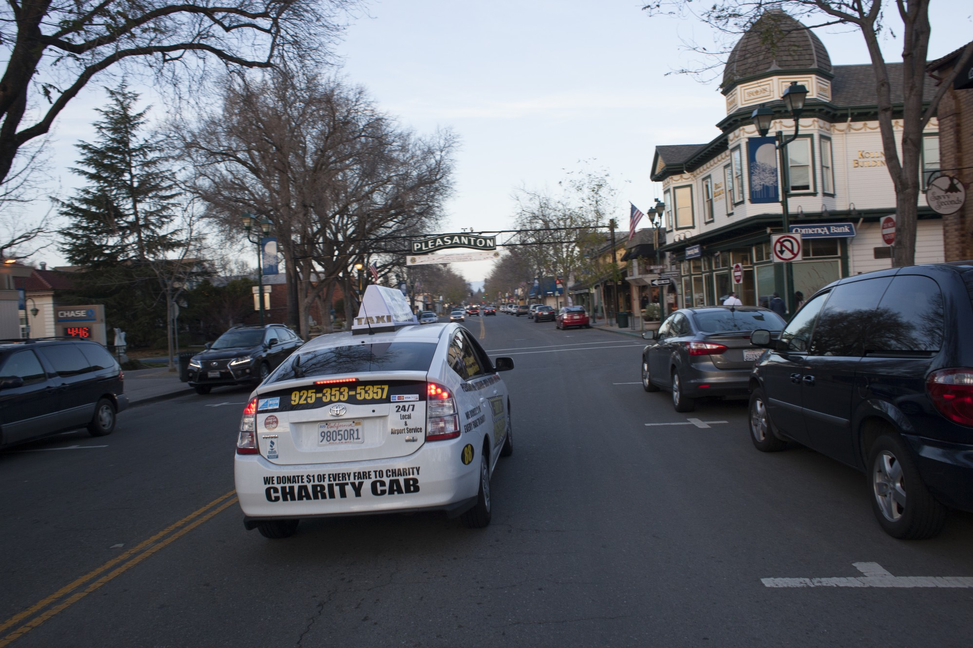 Charity Cab's taxi in Pleasanton on Main Street