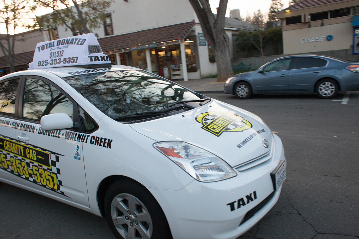 Charity cab picking up a Taxi customer in San Ramon